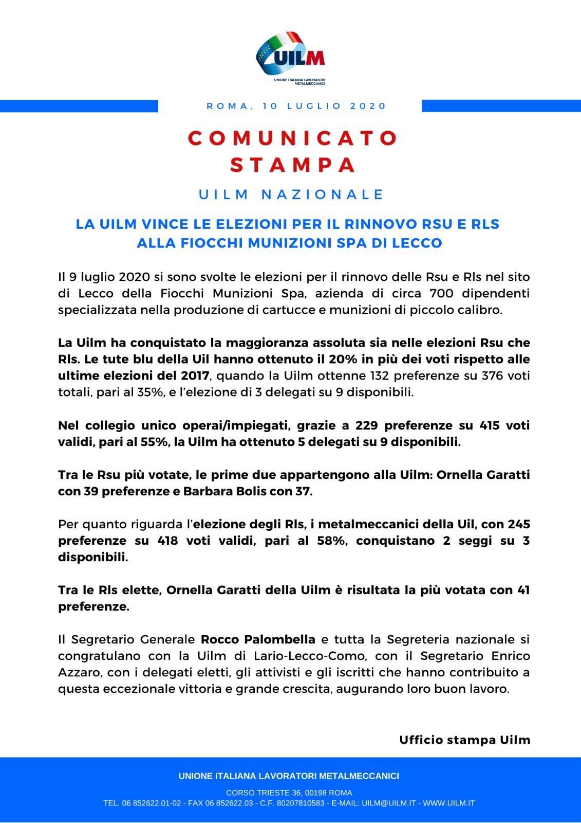 UILM vince le elezioni per il rinnovo RSU RLS alla Fiocchi Munizioni SPA di Lecco